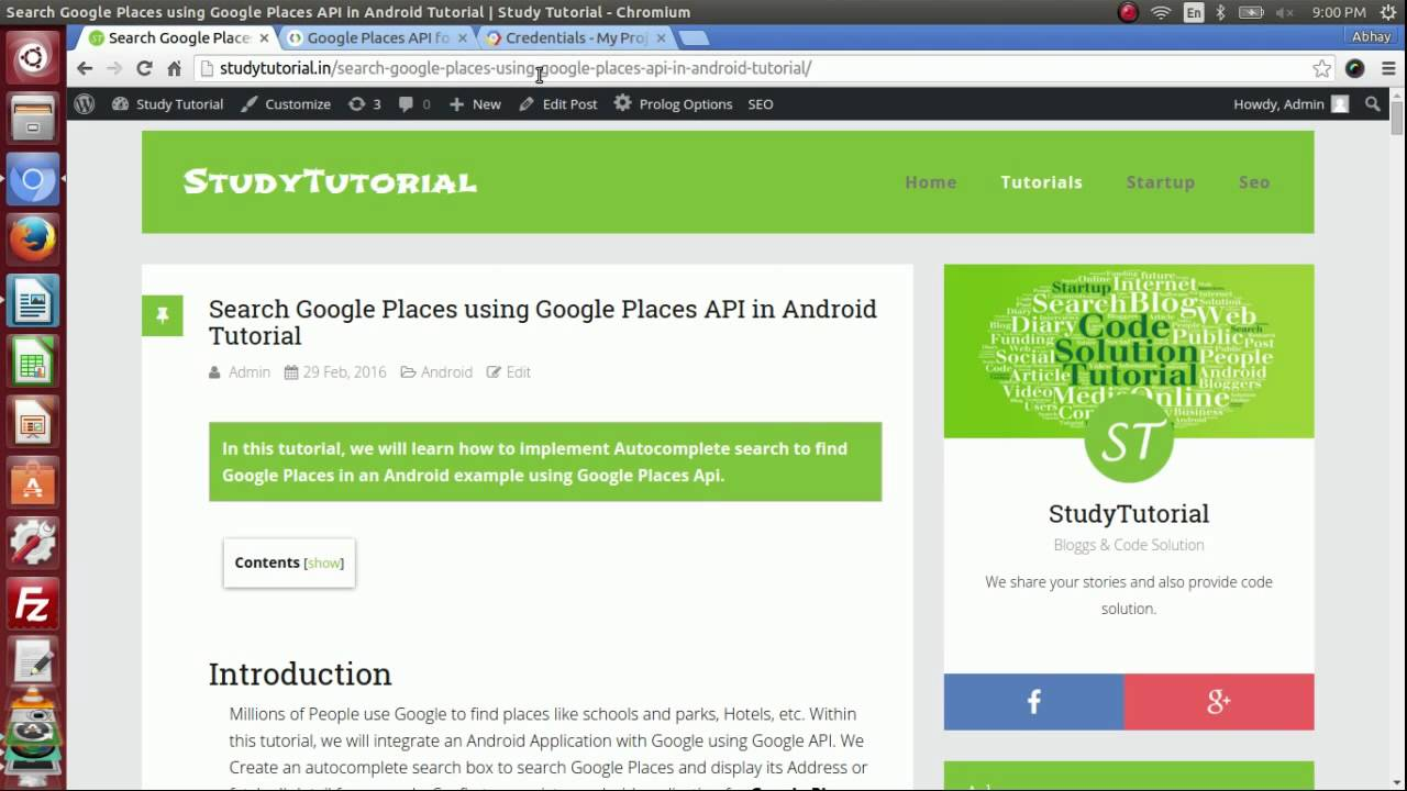 Android Google Places API Tutorial to Search Google Places