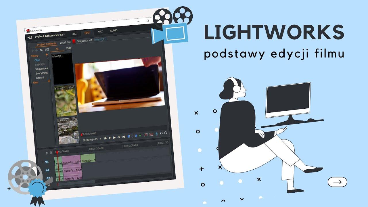 Lightworks - podstawy edycji filmu. Dodawanie przejść, plików, przyspieszanie, zmrożona klatka