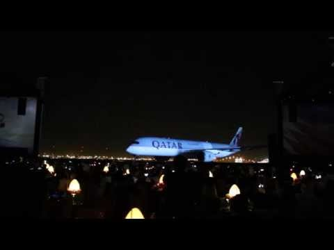 Qatar Airways Airbus A350 inauguration ceremony in Doha with light show