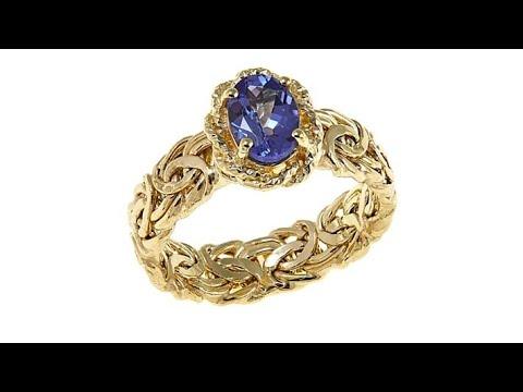14K Yellow Gold 0.7ct Tanzanite Byzantine Band Ring. https://pixlypro.com/ywDGmxH