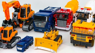Construction Transformers Carbot Tobot Dump  Mixer Truck Bulldozer Poclain Vehicle Robot Car Toys
