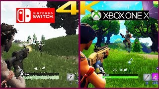 Fortnite Nintendo Switch vs Fortnite Xbox One X! First 4K Comparison!! | 4K60 FPS 2160P