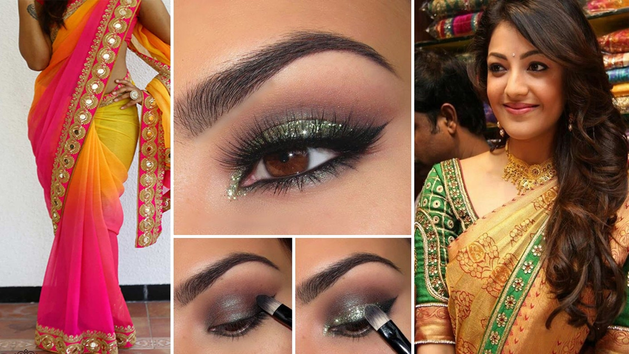 Party Style Saree Draping With Party Style Makeup And Party Hairstyles Step By Step | Party ...