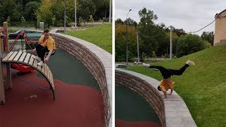 Athletes Incredible Playground Parkour Jump
