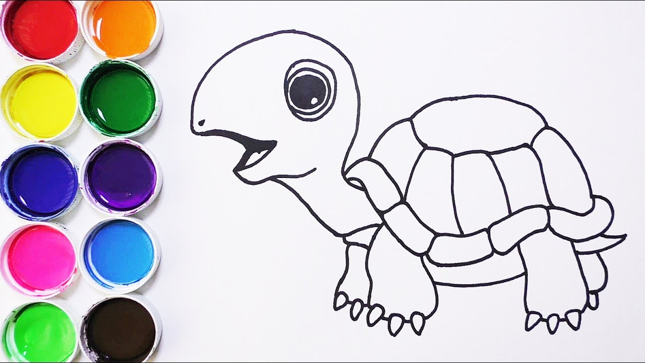 Cómo Dibujar y Colorear Tortuga de Arco Iris - Dibujos Para Niños ...