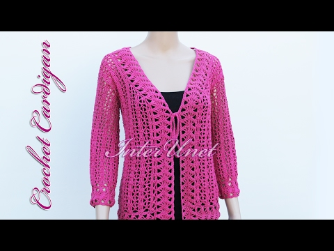 Crochet cardigan jacket with sleeves