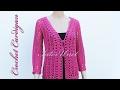 Crochet cardigan jacket with sleeves