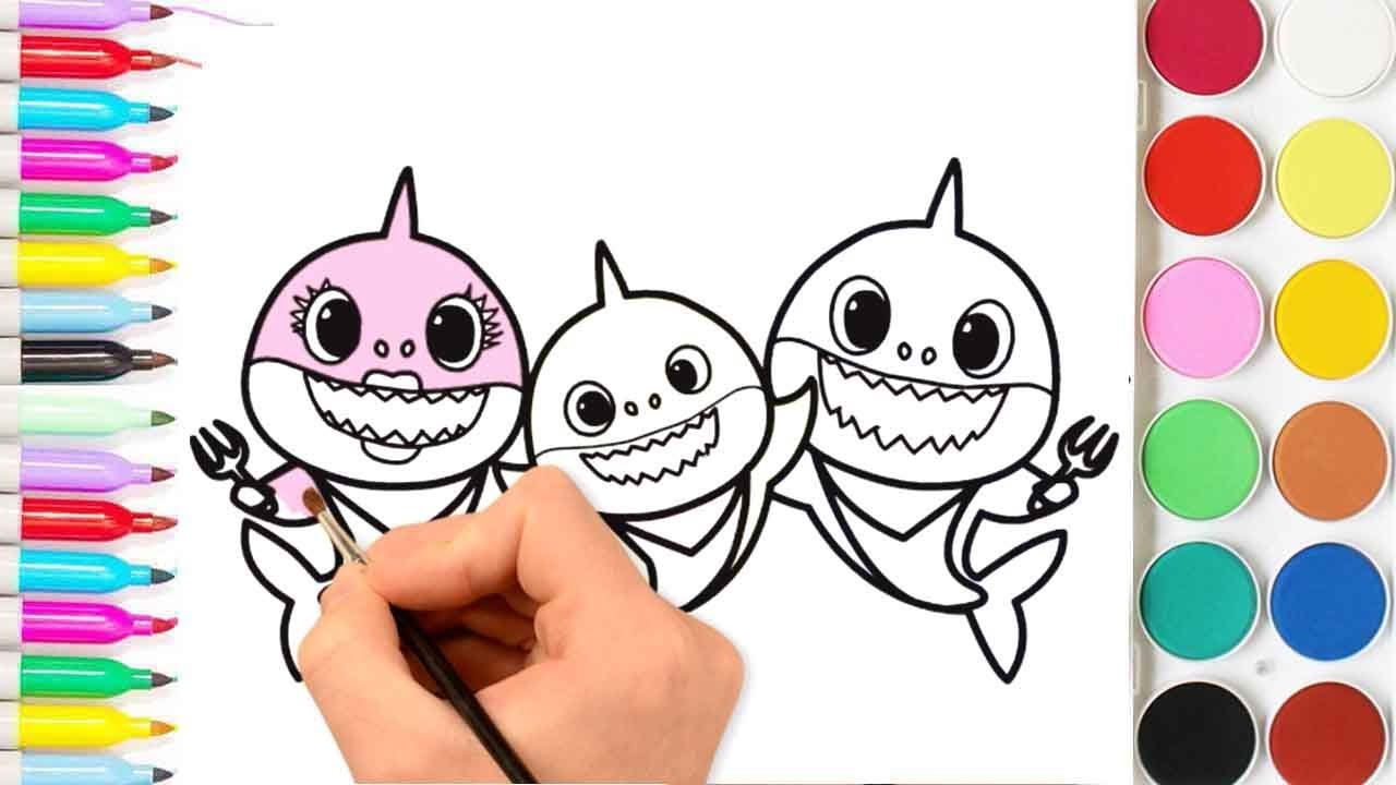 how to drawing and coloring baby shark family baby with mommy and daddy coloring pages for
