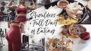 SHOULDER WORKOUT + healthy take-out food FULL DAY OF EATING | toronto vlog