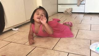 Silly cute toddler reenacting of how she hurt her finger while swimming today