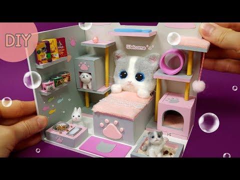 DIY Miniature Dollhouse - Cat Room decor ! Meow ~