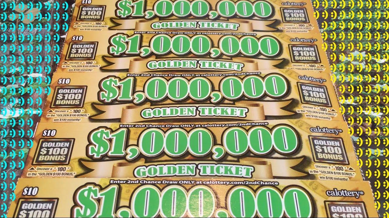 FIRST EVER $1,000,000 GOLDEN TICKET $10 California Lotto Scratchers