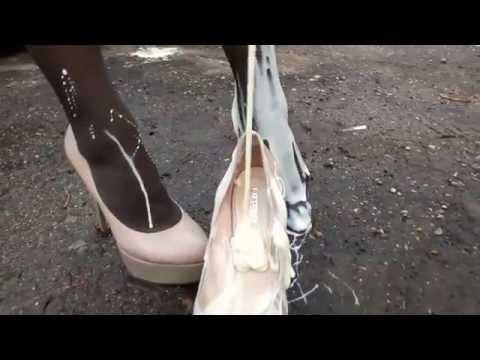 Messy high heels shoes crush
