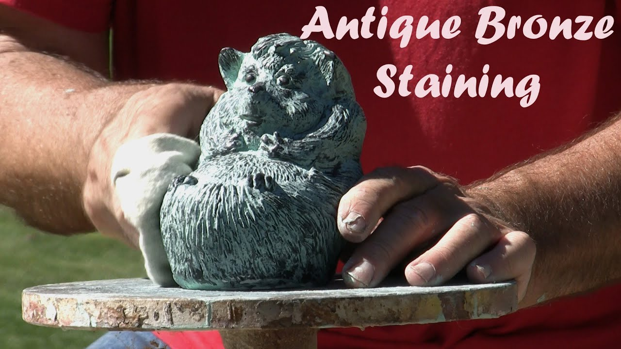 Antique Bronze Patina Staining Painting Hedgehog Statue