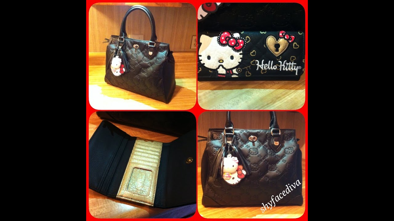 Unboxing Review Loungefly Hello Kitty Black Embossed Satchel Bag Wallet