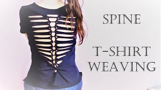 T Shirt Weaving Spine Pattern Diy T Shirt Cutting Design No Sewing No Glue Youtube