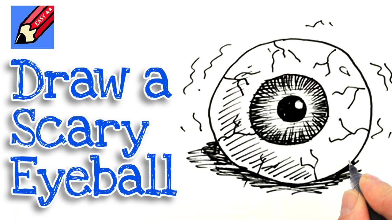 learn how to draw a scary eyeball real easy for kids and beginners