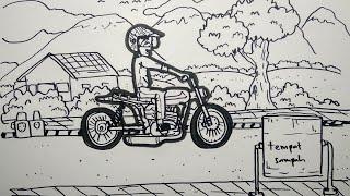 Kereeeen,,,,,. menggambar MOTOR dari kata MOTOR