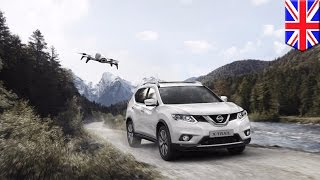 SUV with drone  Nissan adds follow me drone to its X Trail SUV in the UK   TomoNews