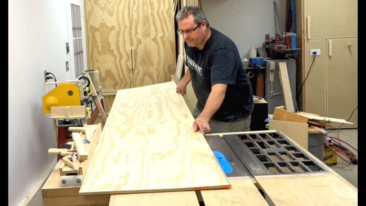 How to cut a large piece of plywood on the table saw youtube how to cut a large piece of plywood on the table saw keyboard keysfo Images