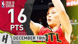 Jeremy Lin Full Highlights Hawks vs Wizards 2018.12.18 - 16 Pts, 4 Ast, 3 Rebounds!
