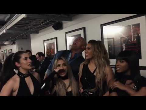 FIFTH HARMONY AND THE ROCK BACKSTAGE AT THE PCAs 2017