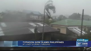 A super typhoon blew into the eastern philippines with disastrous force sunday, killing at least 10 people and triggering volcanic mudflows that engulfed abo...