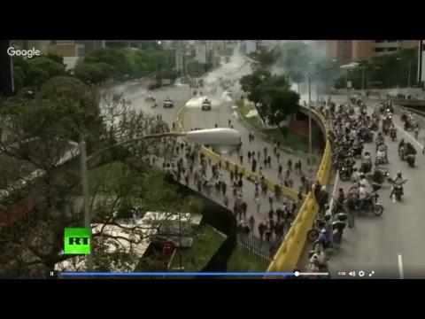 LIVE: Security forces block highway in Caracas, Venezuela
