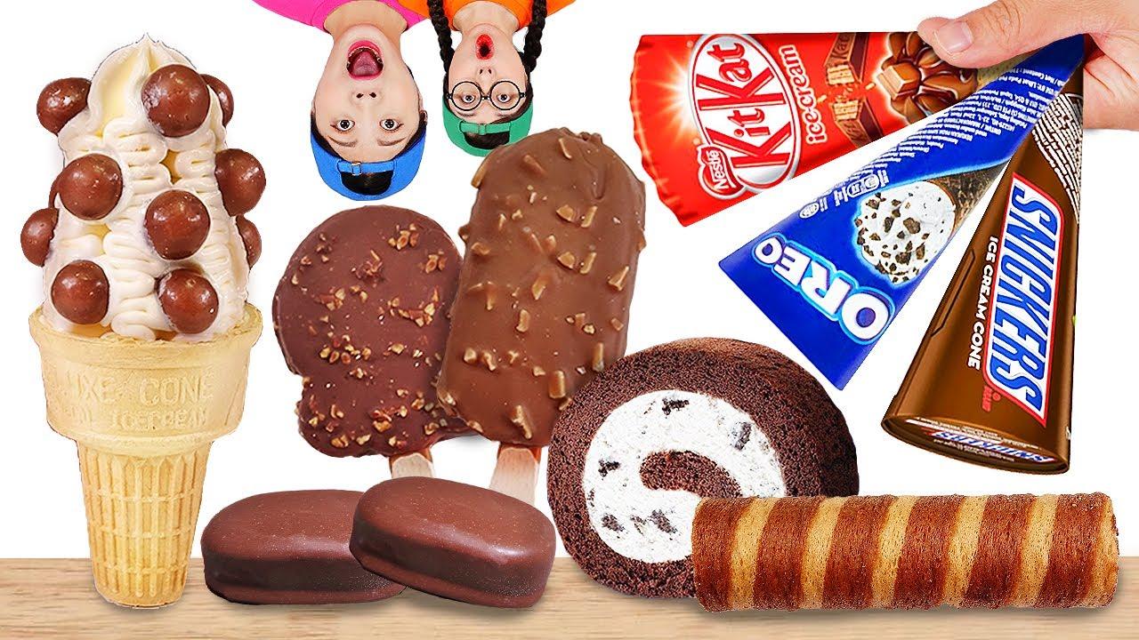 Chocolate Ice Cream Mukbang 초콜릿 아이스크림 먹방 DONA 도나