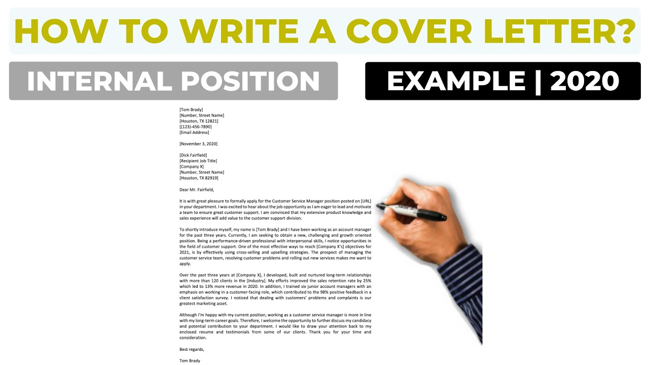 How To Write A Cover Letter For An Internal Position Example Youtube