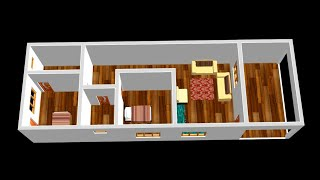 Small Home Design Plan 6x18m With 2 Bedrooms 2020
