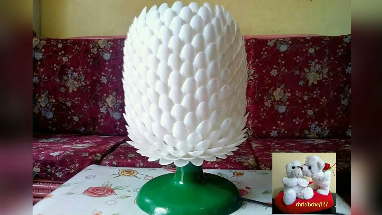 DIY# 14 IMPROVED TABLE LAMP MADE OF PLASTIC SPOON FROM MY DIY#5   YouTube