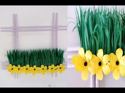 DIY Mini Garden Paper Flower and Grass Wall Decoration Idea