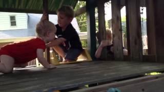 Wyatt On The Swing Set Fort