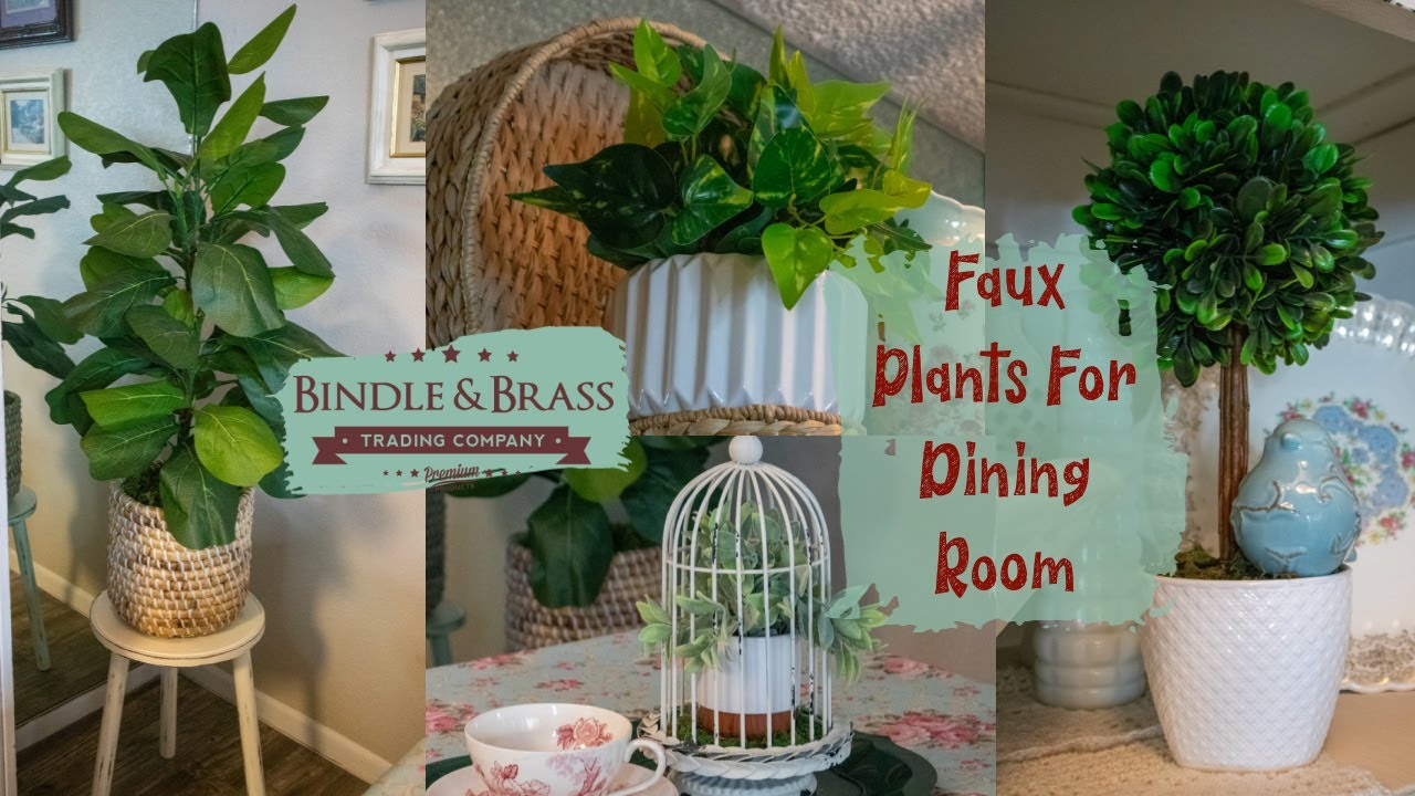 Dining Room Decor with Faux Plants |  Artificial plants from Home Depot
