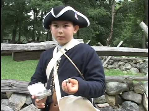 Youngster  displaying his expert knowledge of the early Patriots at Concord  and Lexington.