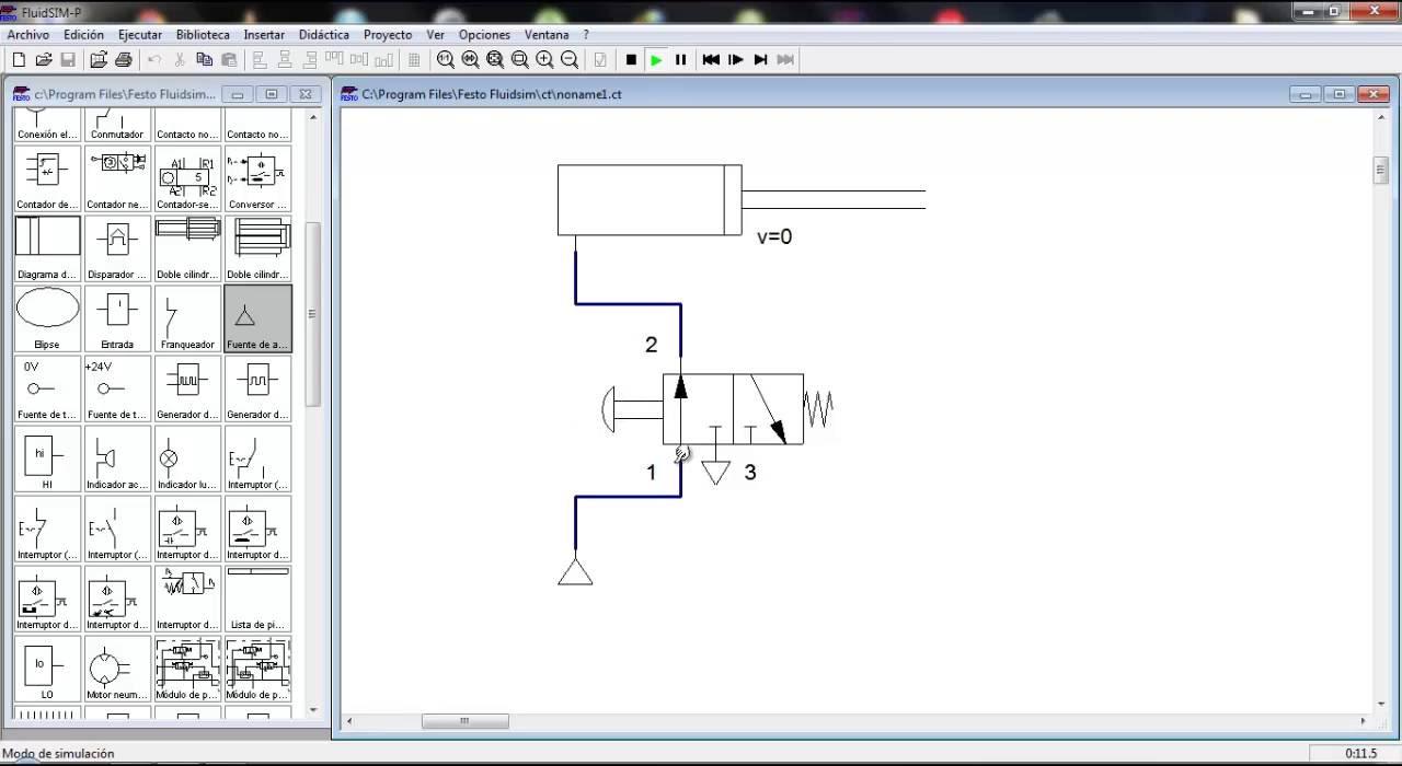 Circuito Basico : Circuito básico de neumática realizado en fluidsim youtube