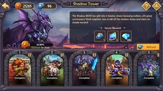 Epic Summoners - Shadow Tower - Warrior boss - Rainbow team, no refresh heroes HP