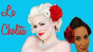 Fancy Burlesque Hairstyle - 1940's Updo - Inspired by La Cholita - Aubrey London Hair Makeup Thumbnail