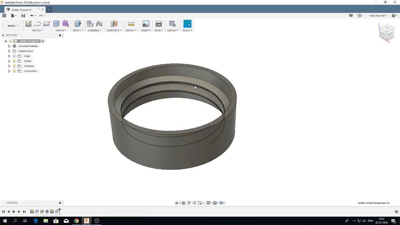 Autodesk Fusion 360: Create bottle thread