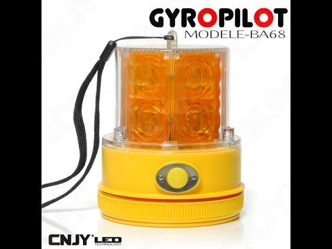 gyrophare led orange gyropilot b68 autonome magnetique a pile youtube. Black Bedroom Furniture Sets. Home Design Ideas