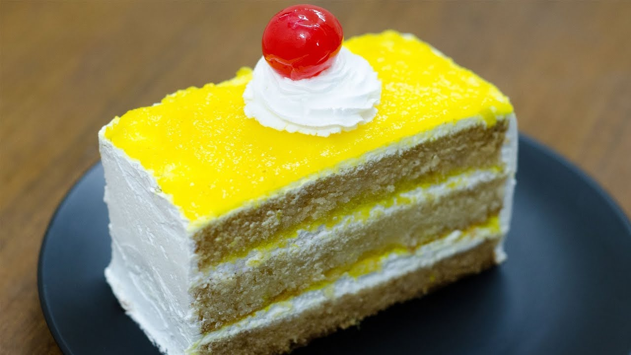 Pineapple Cake Recipe In Urdu Without Oven: PINEAPPLE PASTRY CAKE RECIPE L EGGLESS & WITHOUT OVEN