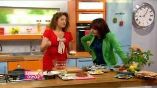 Nadia Sawalha:-:  Itv Lorraine - 01 July 2014- Lamb Shawarma