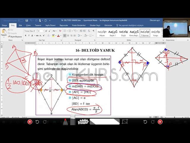 YKS (TYT AYT) Geometri - Deltoid Yamuk / nettekurs.com