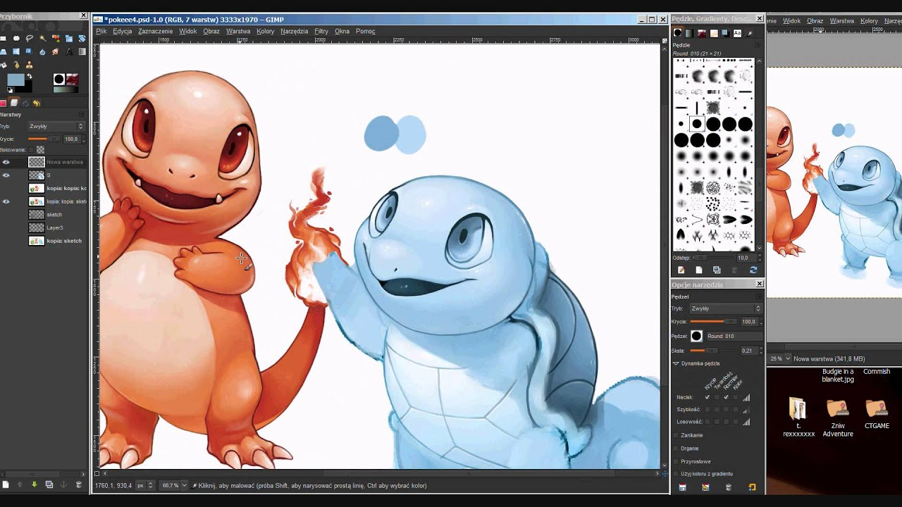 Squirtle gameboy colors painting in gimp