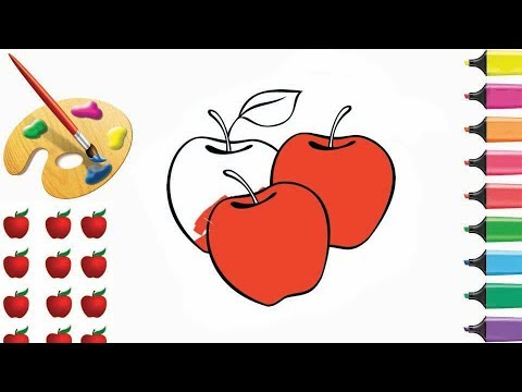 how-to-draw-and-coloring-3-apple-for-kids-|-s-by-s-|-bazlin-art,-coloring-pages