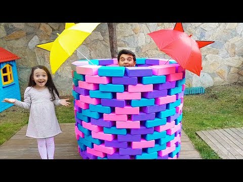 Öykü and DAD Pretend  Play magic well with colorful umbrellas, Fun kid videos Oyuncak Avı