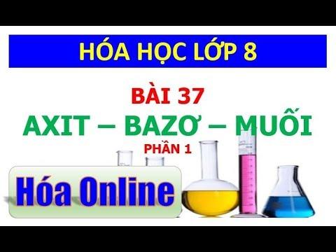 Hóa học 8 – Bài 37 – Axit, Bazơ, Muối – Phần 1