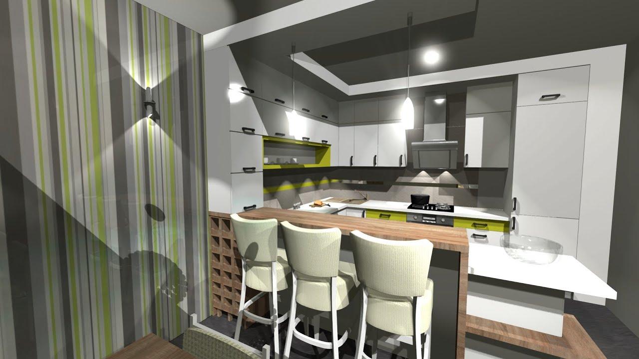 Projekt kuchnia z barkiem  YouTube -> Funkcjonalna Kuchnia Z Salonem