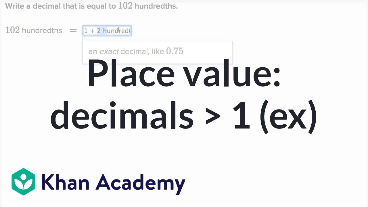 Place value for decimals greater than one (examples) | 4th grade ...